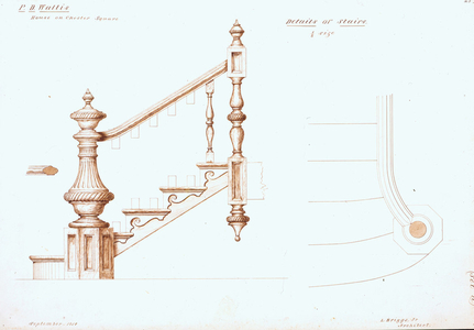 Detail drawings of front stairs of the P.D. Wallis House, Chester Square, Boston, Mass., 1858