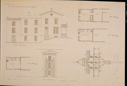 Side and rear elevations, floor plans, and detail drawings of the ell addition to the Harvey Emerson House, Clam Point, Dorchester, Boston, Mass., 1860