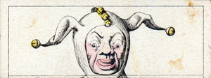 Mix and match game cards: head of a jester