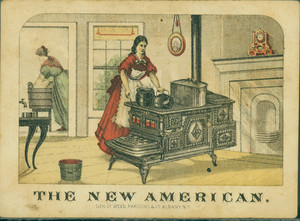 Trade card for the New American Cook Stove, Perry & Co., 115 Hudson Avenue, Albany and 86 Beekman Street, New York, New York, 1874