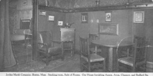 Postcard, smoking-room, suite of rooms, our house-furnishing annex, Jordan Marsh Company, Avon, Chauncy and Bedford Streets, Boston, Mass.