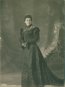 """Full-length portrait of Miss Mary Tucker, as published in The Biddeford Record (""""Darkest Russia"""" review), location unknown, undated"""