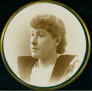 Circular portrait of Patty [Martha Armstrong] Tucker, unknown location, undated
