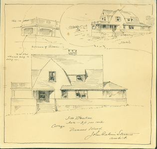 Detail drawing, sketch, and side elevation of the Joseph A. King Cottage, Great Diamond Island, Casco Bay, Maine, Feb. 16, 1888