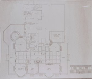 First floor plan with specifications and elevation room end for Holbrook Hall, Newton Center, Mass., undated