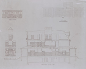 Sections, longitudinal and transverse; elevation, room-end; diagram of floor, hall for Holbrook Hall, Newton Center, Mass., undated