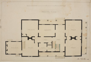 Principal floor plan of an unidentified house, location unknown, 1850