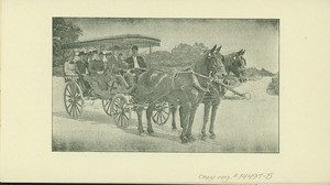 Pamphlet for Franklin Park Carriage Service, Bacon & Tarbell, proprietors, Boston, Mass., undated. Vehicle photograph