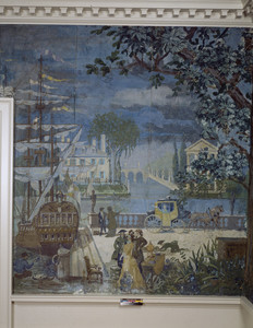 Parlor mural detail showing ship, Hamilton House, South Berwick, Maine