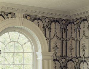 Hallway wallpaper and top of window, Hamilton House, South Berwick, Maine