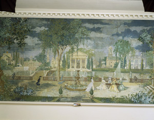 Mural detail (ladies at table), Hamilton House, South Berwick, Maine