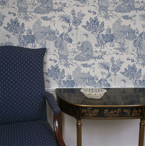 Blue and white wallpaper and furniture, Lyman Estate, Waltham, Mass.
