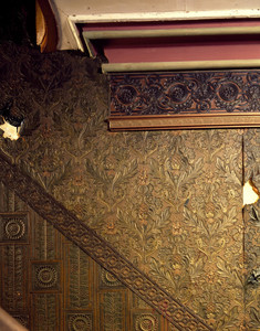 Lincrusta wallpaper on the stairway, Roseland Cottage, Woodstock, Conn.