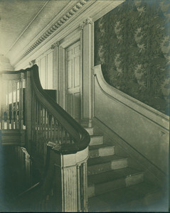 Detail of stair in paneled hall, Gardner House, Portsmouth
