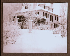 Exterior view of Hamilton House, South Berwick, Maine, covered in snow