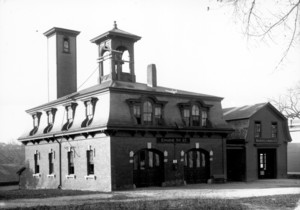 Exterior view of the Meeting House Hill Firehouse (Engine No. 17). Parish St., Dorchester, Mass.