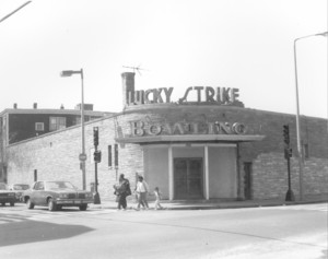 Exterior view of the Lucky Strike Bowling Alley, 289 Adams St., corner of Park St. Dorchester, Mass.