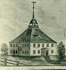 Photograph of a woodcut depicting the exterior of the Old Ship Meeting House, Hingham, about 1850.