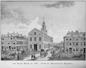Southwest view of the Old State House as it looked in 1793, Boston, Mass.