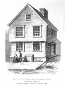Birth place of Franklin, in Milk St., Jan. 6, 1705-6, O.S., as reproduced at the Fair of the Boston Young Men's Christian Association, Decr. 25, 1858