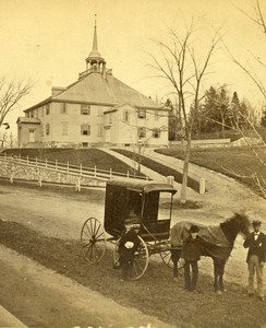 Exterior of Old Ship Church, Hingham, Mass., with horse and carriage