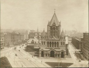 Birdseye view of Trinity Church, Copley Square, Boston, Mass.