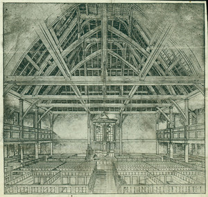 Photomechanical illustration of the interior of the Old Ship Meeting House, Hingham, facing pulpit