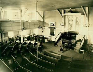 """Interior of Meeting House, Hingham (""""Old Ship Meeting House"""")."""