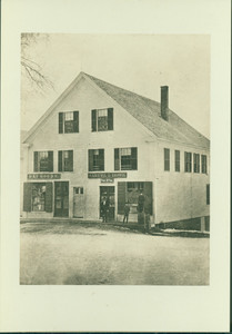 Full-length group portrait in front of the Samuel I. Howe's Store, Shrewsbury, Mass., undated