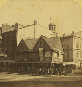 Stereograph of the Old Feather Store, Dock Square, Boston, Mass., undated