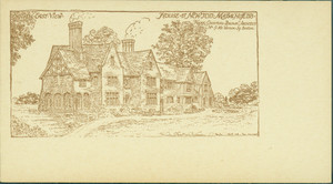 Business card for Frank Chouteau Brown illustrating his design for a home at Newton, Mass.
