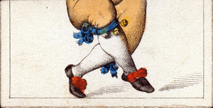 Mix and match game cards: male legs with orange pants, white stockings, and shoes with red bows of a jester