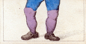 Mix and match game cards: male legs with blue pants and purple leggings