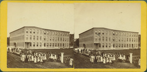 Stereograph of the C.T. Sampson Shoe Manufactory, North Adams, Mass., undated