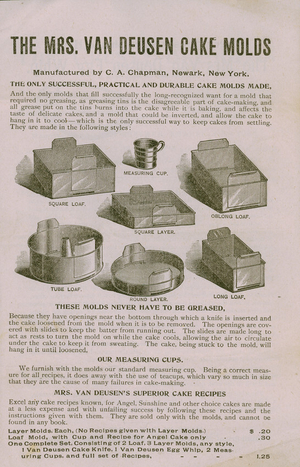 Advertisement for The Mrs. Van Beusen Cake Molds, manufactured by C. A. Chapman, Newark, New York, undated