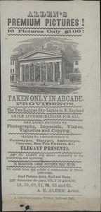 Advertisement for Alden's Premium Pictures, 58, 59, 60, 61, 62, 63 and 65 Arcade, Providence, Rhode Island, undated