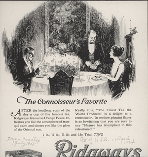 Advertisement for Ridgways Genuine Orange Pekoe Tea, Ridgways Inc., 60 Warren Street, New York, New York, July 1, 1923