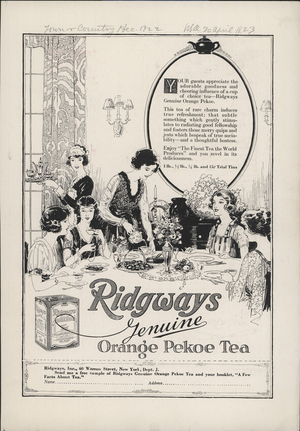 Advertisement for Ridgways Genuine Orange Pekoe Tea, Ridgways Inc., 60 Warren Street, New York, New York, December 1922