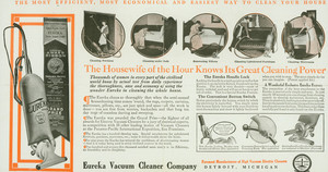 Advertisement for Eureka Vacuum, Eureka Vacuum Cleaner Company, Detroit, Michigan, undated