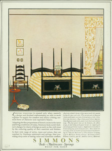 Advertisement for Simmons beds, mattresses, springs, The Simmons Company, 1347 S. Michigan Avenue, Chicago, Illinois, November 15, 1923