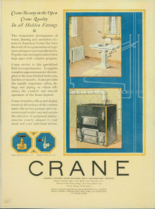 Advertisement for the Crane Company, plumbing fixtures, 636 S. Michigan Avenue, Chicago, Illinois, April 1923