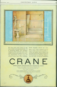 Advertisement for the Crane Company, plumbing, 636 S. Michigan Avenue, Chicago, Illinois, September 1922