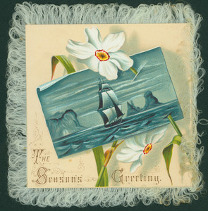 Christmas card, showing daffodils and ship painting, undated
