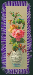 Christmas card, showing a rose in a vase, undated