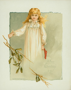 Christmas card, showing a little girl with stocking, 1887