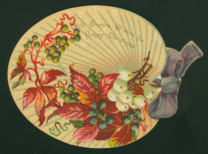 Christmas card, with leaf and berry design, undated