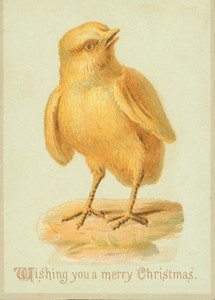Christmas card, depicting a yellow chick, undated