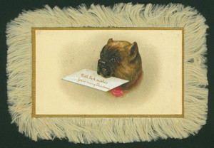 Christmas card, showing dog with a card in its mouth, undated