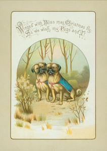 Christmas card, showing two pugs in the woods, undated