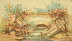 Christmas card, showing a scene by a creek, undated